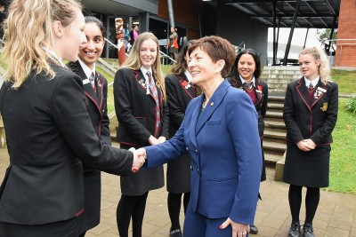an image of Dame Patsy meeting the senior student leadership team