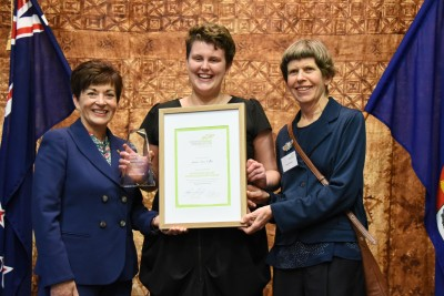 an image of Dame Patsy, Sarah Hillary, and Jessica Collins, winner of the Sir Edmund Hillary Youth Achievement Award