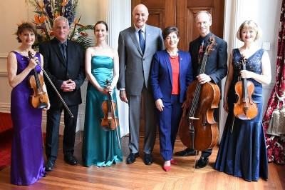 Image of Dame Patsy and Sir David with New Zealand String Quartet members past and present