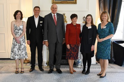 Image of Dame Patsy and Sir David with the official party before the Frances Clarke Awards at Government House