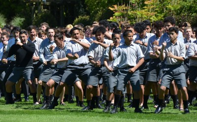 Image of students from Wellington College doing the haka