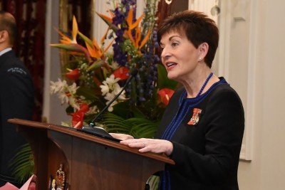 Image of Dame Patsy speaking at the St John Grand Prior Award ceremony at Government House