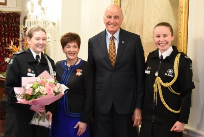 Image of Dame Patsy and Sir David with National Cadet of the Year Cascade Price and MC Ella McLure