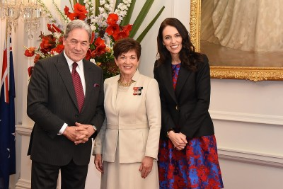 Image of Dane Patsy with PM-designate Jacinda Ardern and Deputy PM-designate Rt Hon Winston Peters before the Swearing-in