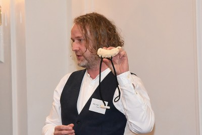 an image of Churchill Fellow Alistair Fraser talking about taonga puoro