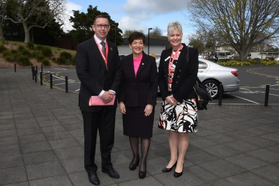 an image of Dame Patsy with Vice-Chancellor Neil Quigley and Professor Robyn Longhurst