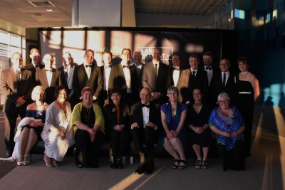 an image of Dame Patsy and Sir David with the finalists of the Kudos Awards