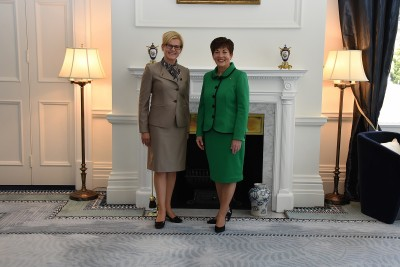 Image of Dame Patsy with HE Ms Dace Treija-Masi, Ambassador of Latvia i