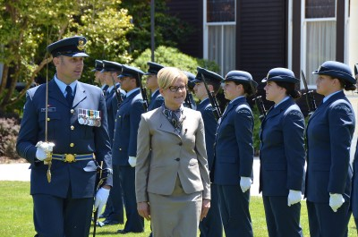 Image of HE Ms Dace Treija-Masi, Ambassador of Latvia inspects the Guard of Honour