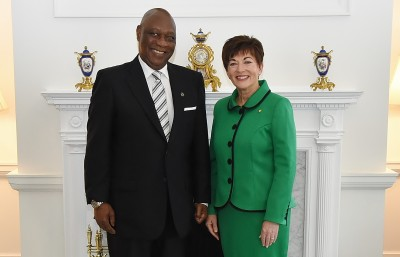 an image of His Excellency Mr Mathias Meinrad Chikawe, The High Commissioner of Tanzania and Dame Patsy