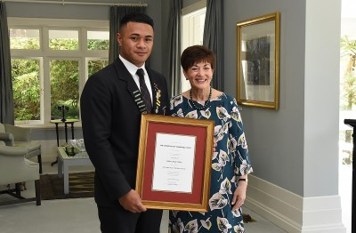 Image of Dame Patsy and Elliot scholar Tevita Uilou