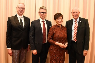 Image of Dame Patsy with Garry Trinder, Director of the New Zealand School of Dance; Andrew Stewart, Chair of the New Zealand School of Dance Foundation and Russell Ballard, Chair of the New Zealand School of Dance