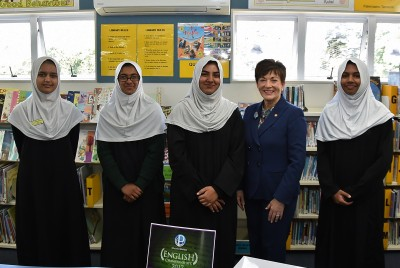 Image of Dame Patsy with students who participated in the Education Perfect English Competition.