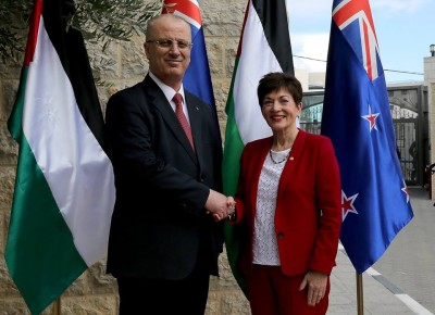 an image of Dame Patsy meeting the Palestinian President, Dr Rami Hamdallah
