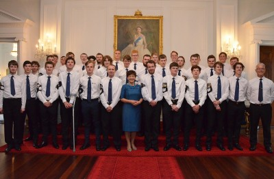 an image of Dame Patsy with Boy's Brigade members