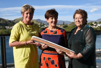 an image of Kereyn Smith, Dame Patsy, NZOC kuia Ranui Ngarimu and the Queen's Baton