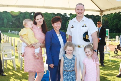 an image of Dame Patsy with Lt Cdr Robert McCaw, his wife Samara, and William, Zara and Juliette McCaw