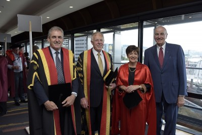 Image of Dame Patsy and Sir David with Chancellor Sir Neville Jordan and Vice-chancellor Grant Guildford