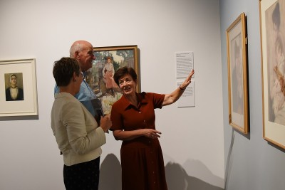 an image of Dame Patsy and Sir David at the exhibition of Frances Hodgkins' portraits