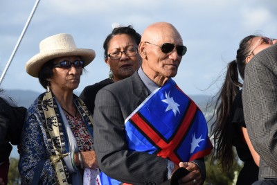 an image of Ngapuhi representatives at the Maiki Hill flagstaff commemorations