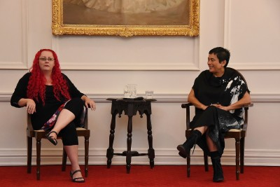 an image of Dr Siouxsie Wiles and Lisa Reihana in conversation