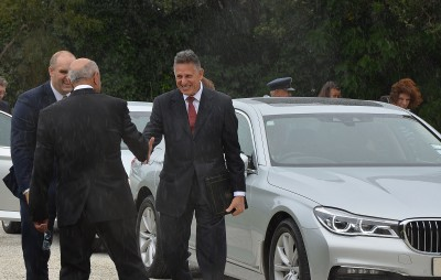 Image of The Ambassador of Ecuador,  His Excellency Mr Juan Rodrigo Salazar Sancisi arriving at Government House