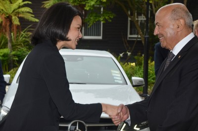 Image of the High Commissioner of the Republic of Mauritius,  HE Christelle Sohun with kaumatua Piri Sciascia