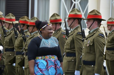 Image of the Ambassador of South Africa inspecting the Guard of Honour