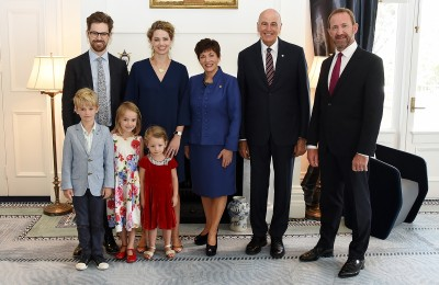 Image of The British High Commissioner, HE Ms Laura Mary Clarke and family with Dame Patsy, Sir David and Minister Andrew Little