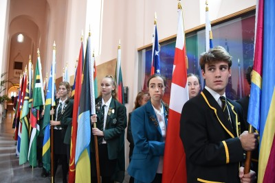 an image of Students with Commonwealth flags