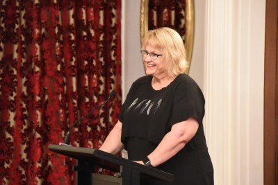 Image of Dr Jenny McMahon, National President of Red Cross New Zealand reads the citations