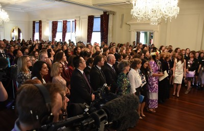 Image of the crowd in the ballroom
