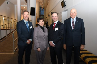 Image of dame Patsy with Peter Mersi, Chair of the NZSAR Council and Rhett Emery, National Search and Rescue Support Programme Coordinator