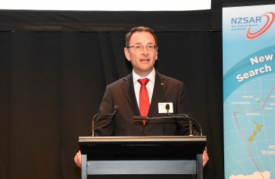 Image of Peter Mersi, Chairman of the NZSAR Council speaking