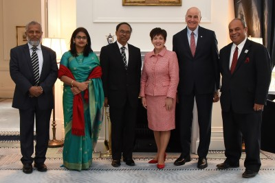an image of Their Excellencies with HE Mr Mohammad Sufiur Rahman and his guests, and Hon Aupito William Sio, Minister of the Crown
