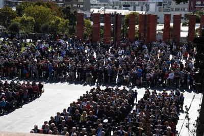 an image of The assembled crowd at Pukeahu, in front of the Australian Memorial