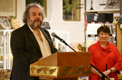 Image of Sir Peter Jackson speaking about the creation process for the exhibit