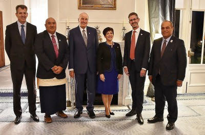 Image of Dame Patsy and Sir David with Mr Craig Fisher, Fred Hollows Foundation New Zealand Chair; Hon Dr Saia Ma'u Piukala, Minister of Health Tonga; Mr Andrew Bell, Fred Hollows Foundation New Zealand CEO and Hon Aupito Wil