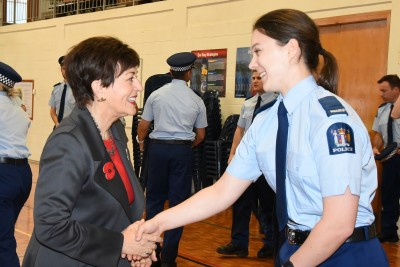 an image of Dame Patsy meeting a Wing 316 recruit