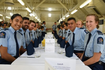 an image of Wing 316 police recruits at lunch