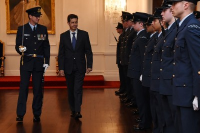 an image of HE Mr Fernando Curcio Ruigomez, the Ambassador of the Kingdom of Spain inspecting the Guard of Honour