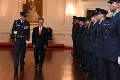 an image of HE Mr Jaime Bueno-Miranda, the Ambassador of the Republic of Colombia inspecting the Guard of Honour