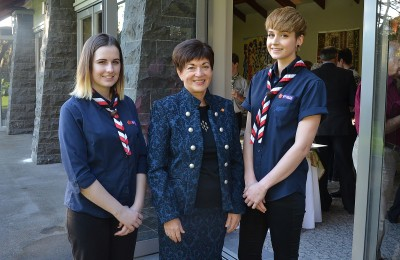 Image  of Dame Patsy with  Sophia Humphries and Jennifer Curruthers of the Te Anau Sea Scout Group