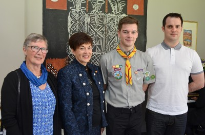 Image of Dame Patsy with Ewan Lee of the Havelock North Scout Group