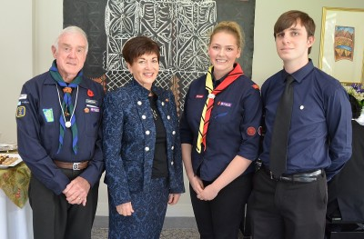 Image of Dame Patsy with Petra Saecker-Battley and Lewis Irwin of the Te Atatu Endeavour Sea Scout Group