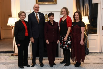 an image of Dame Patsy and Sir David with Dame Claudia Orange, guest speaker Dr Rhian Salmon and Ms Sarah Barclay, President of Zonta Wellington