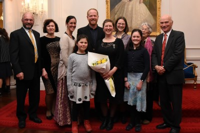 an image of Dr Jessie Prebble, Zonta Science Award winner and her family