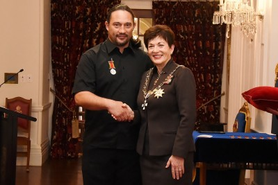 Image of Dame Patsy with Zane Paki