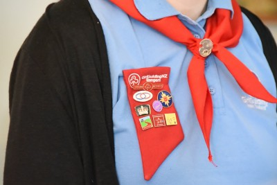 Image of a Girl Guide's collection of badges