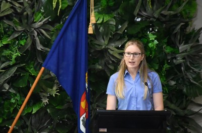 Image of GirlGuidingNZ board member Rebecca Kendrick welcomes recipients and guests
